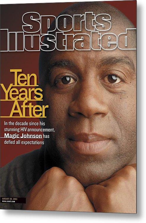 Magazine Cover Metal Print featuring the photograph Magic Johnson, Basketball Sports Illustrated Cover by Sports Illustrated
