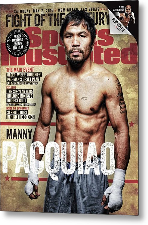 Event Metal Print featuring the photograph Manny Pacquiao, 2015 Wbawbcwbo Welterweight Title Preview Sports Illustrated Cover by Sports Illustrated
