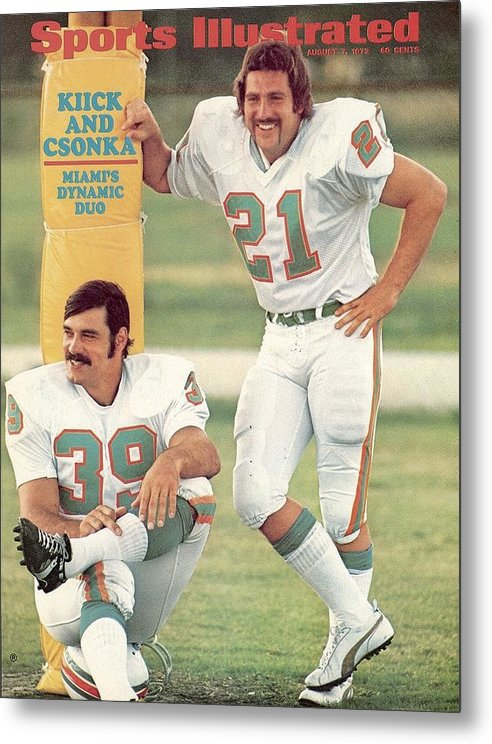 Sports Illustrated Metal Print featuring the photograph Miami Dolphins Jim Kiick And Larry Csonka Sports Illustrated Cover by Sports Illustrated
