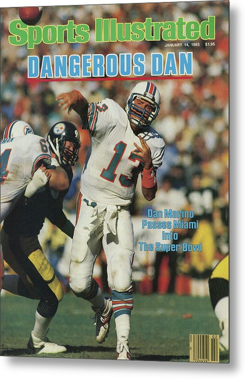 Playoffs Metal Print featuring the photograph Miami Dolphins Qb Dan Marino, 1985 Afc Championship Sports Illustrated Cover by Sports Illustrated