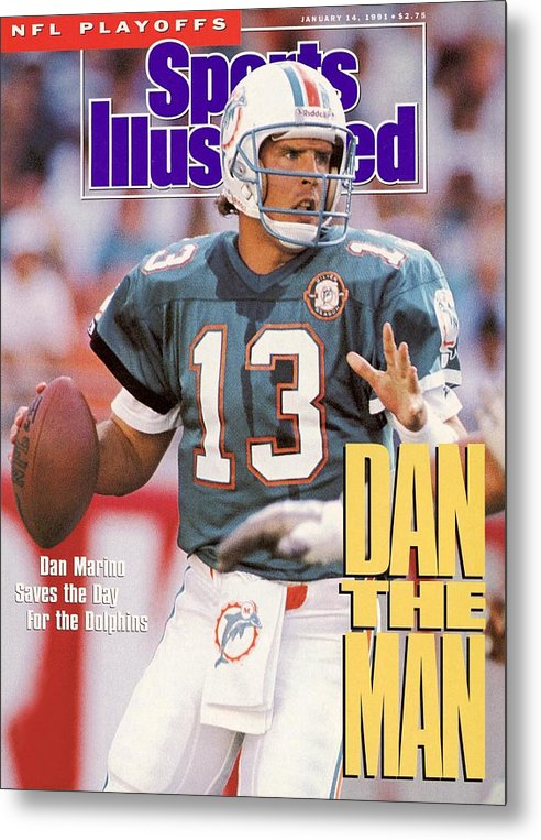 Playoffs Metal Print featuring the photograph Miami Dolphins Qb Dan Marino, 1991 Afc Wild Card Playoffs Sports Illustrated Cover by Sports Illustrated