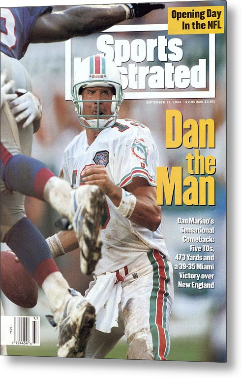 New England Patriots Metal Print featuring the photograph Miami Dolphins Qb Dan Marino... Sports Illustrated Cover by Sports Illustrated