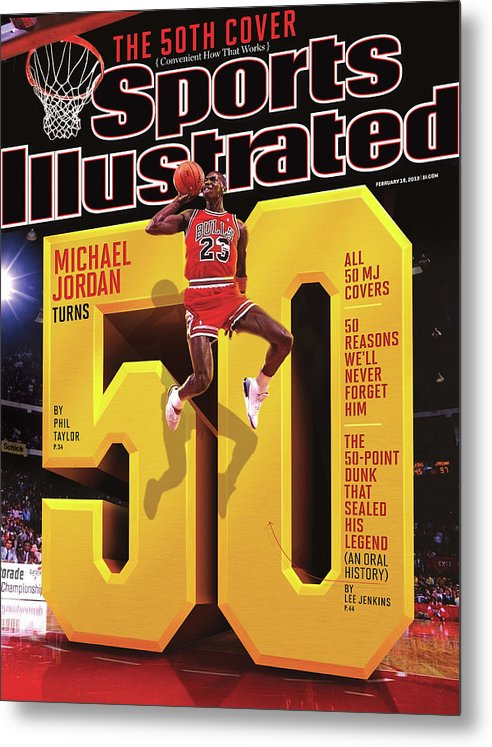 Magazine Cover Metal Print featuring the photograph Michael Jordan Turns 50 Sports Illustrated Cover by Sports Illustrated