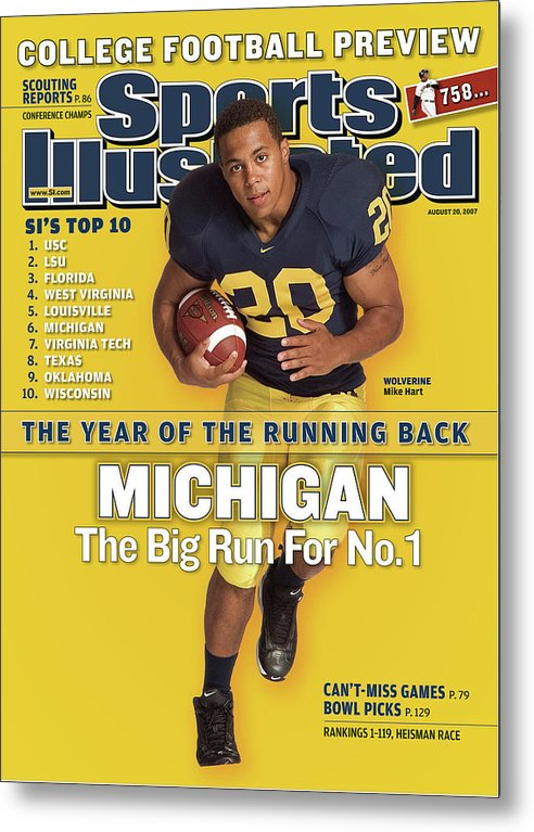Michigan Metal Print featuring the photograph Michigan Mike Hart, 2007 College Football Preview Sports Illustrated Cover by Sports Illustrated