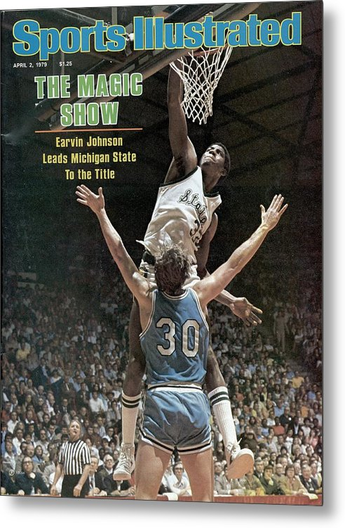 Michigan State University Metal Print featuring the photograph Michigan State Magic Johnson, 1979 Ncaa National Sports Illustrated Cover by Sports Illustrated