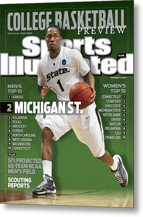Hubert H. Humphrey Metrodome Metal Print featuring the photograph Michigan State University Kalin Lucas, 2009 Ncaa Midwest Sports Illustrated Cover by Sports Illustrated