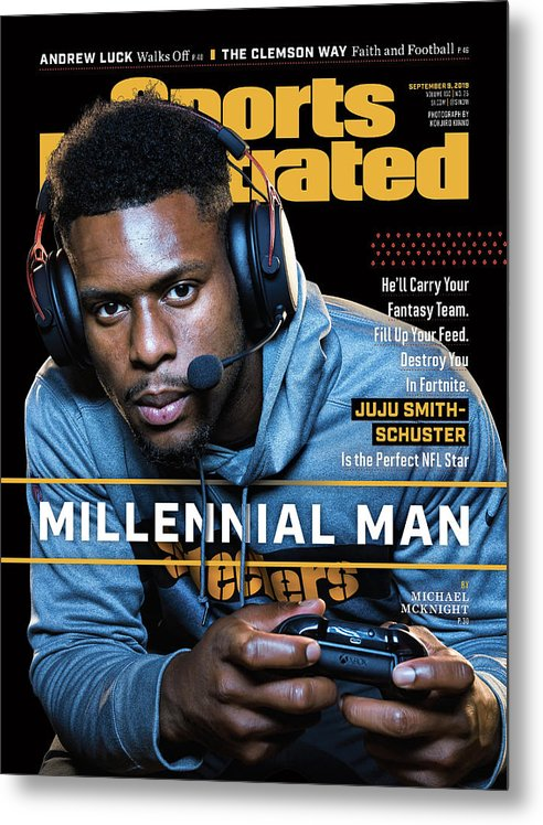 Magazine Cover Metal Print featuring the photograph Millennial Man Pittsburgh Steelers Juju Smith-schuster Sports Illustrated Cover by Sports Illustrated