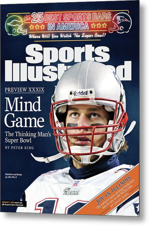 Magazine Cover Metal Print featuring the photograph Mind Game The Thinking Mans Super Bowl Xxxix Preview Sports Illustrated Cover by Sports Illustrated
