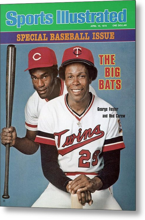 Magazine Cover Metal Print featuring the photograph Minnesota Twins Rod Carew And Cincinnati Reds George Sports Illustrated Cover by Sports Illustrated