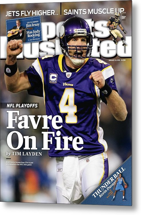 Hubert H. Humphrey Metrodome Metal Print featuring the photograph Minnesota Vikings Qb Brett Favre, 2010 Nfc Divisional Sports Illustrated Cover by Sports Illustrated