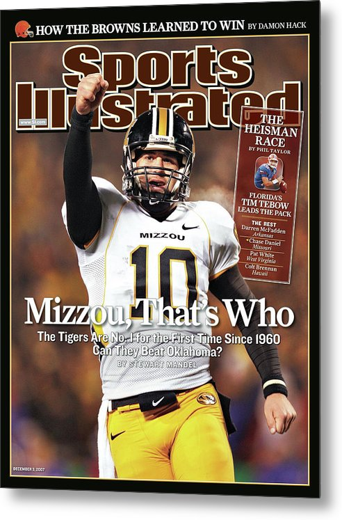 Magazine Cover Metal Print featuring the photograph Missouri University Qb Chase Daniel by Sports Illustrated Cover