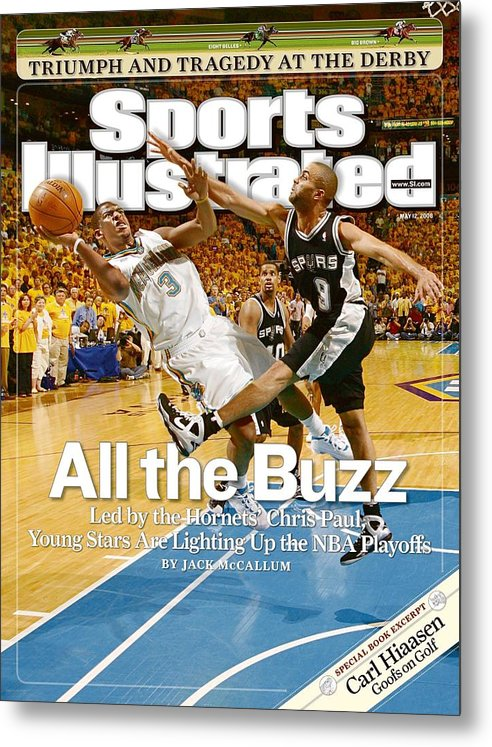 Magazine Cover Metal Print featuring the photograph New Orleans Hornets Chris Paul, 2008 Nba Western Conference Sports Illustrated Cover by Sports Illustrated