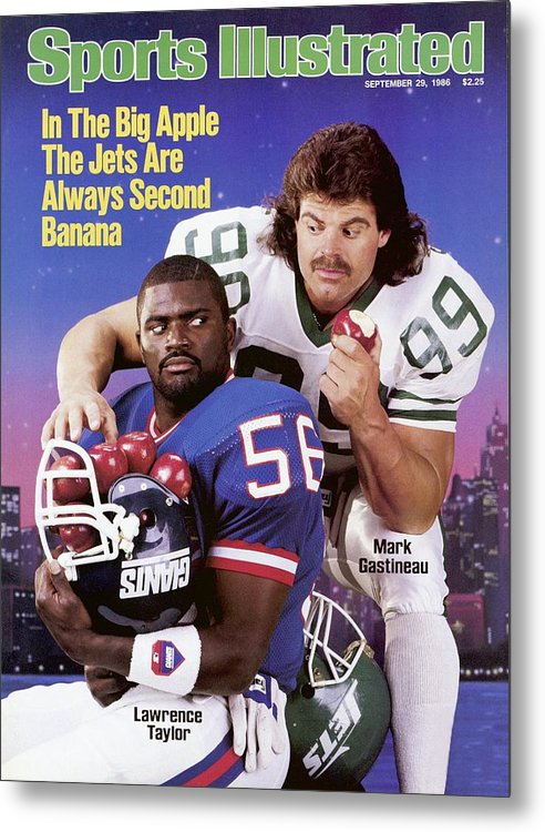 Magazine Cover Metal Print featuring the photograph New York Giants Lawrence Taylor And New York Jets Mark Sports Illustrated Cover by Sports Illustrated