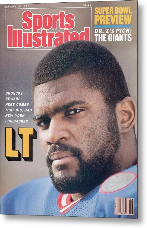 Magazine Cover Metal Print featuring the photograph New York Giants Lawrence Taylor Sports Illustrated Cover by Sports Illustrated