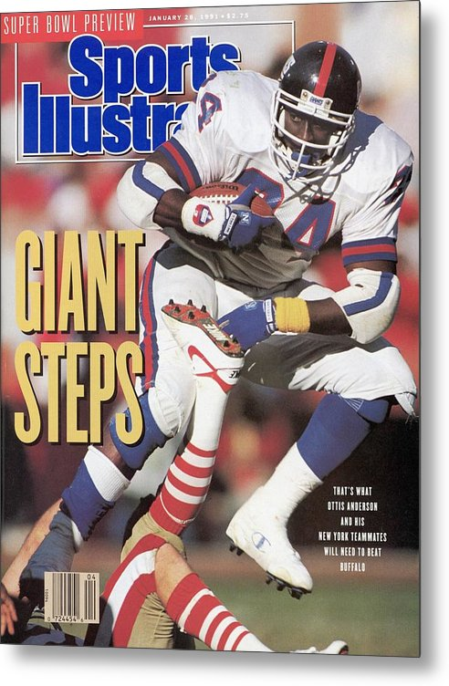 Candlestick Park Metal Print featuring the photograph New York Giants Ottis Anderson, 1991 Nfc Championship Sports Illustrated Cover by Sports Illustrated