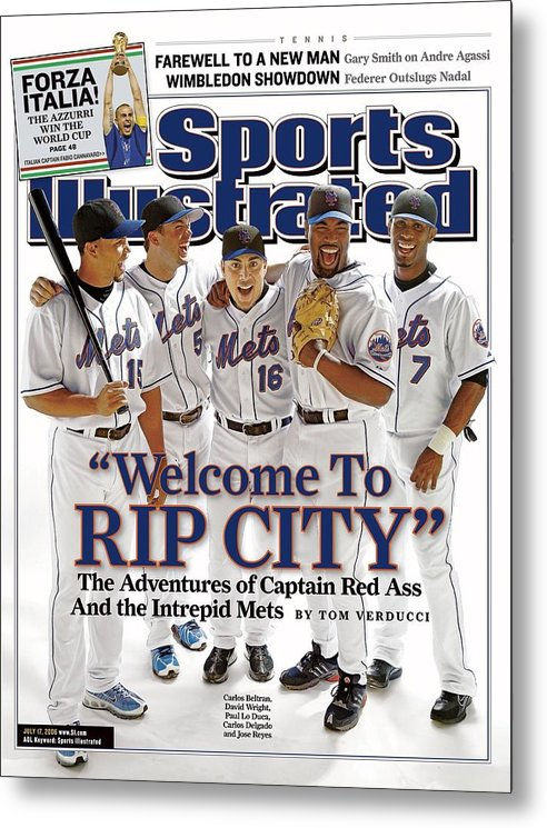 Magazine Cover Metal Print featuring the photograph New York Mets Carlos Beltran, David Wright, Paul Lo Duca Sports Illustrated Cover by Sports Illustrated