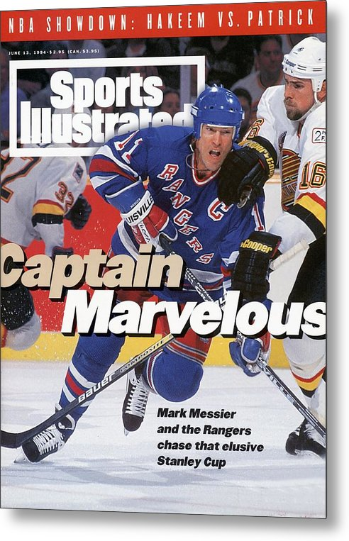 National Hockey League Metal Print featuring the photograph New York Rangers Mark Messier, 1994 Nhl Stanley Cup Finals Sports Illustrated Cover by Sports Illustrated