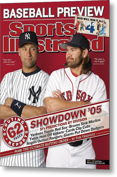 American League Baseball Metal Print featuring the photograph New York Yankees Derek Jeter And Boston Red Sox Johnny Damon Sports Illustrated Cover by Sports Illustrated