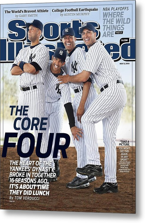 American League Baseball Metal Print featuring the photograph New York Yankees Derek Jeter, Jorge Posada, Mariano Rivera Sports Illustrated Cover by Sports Illustrated