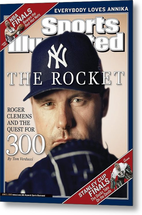 American League Baseball Metal Print featuring the photograph New York Yankees Roger Clemens Sports Illustrated Cover by Sports Illustrated
