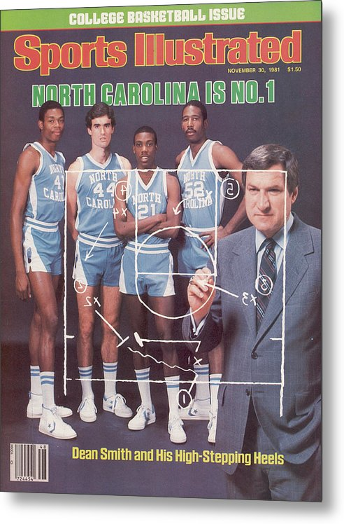 1980-1989 Metal Print featuring the photograph North Carolina Coach Dean Smith And Team Sports Illustrated Cover by Sports Illustrated