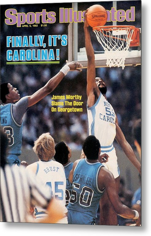 Magazine Cover Metal Print featuring the photograph North Carolina James Worthy, 1982 Ncaa National Championship Sports Illustrated Cover by Sports Illustrated