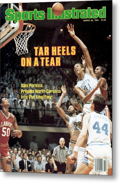 Playoffs Metal Print featuring the photograph North Carolina Sam Perkins, 1982 Ncaa East Regional Playoffs Sports Illustrated Cover by Sports Illustrated