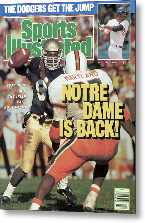1980-1989 Metal Print featuring the photograph Notre Dame Is Back Tony Rice Leads The Irish Past No. 1 Sports Illustrated Cover by Sports Illustrated