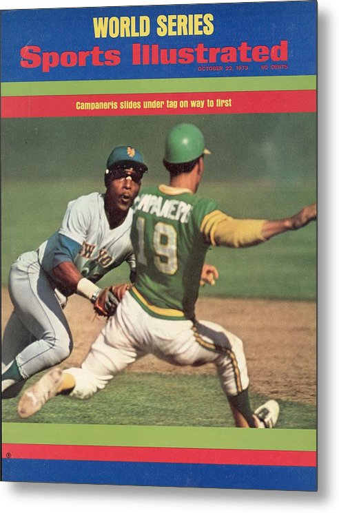 Magazine Cover Metal Print featuring the photograph Oakland Athletics Bert Campaneris, 1973 World Series Sports Illustrated Cover by Sports Illustrated