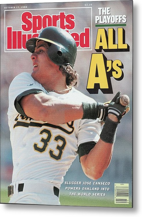 Playoffs Metal Print featuring the photograph Oakland Athletics Jose Canseco, 1988 Al Championship Series Sports Illustrated Cover by Sports Illustrated