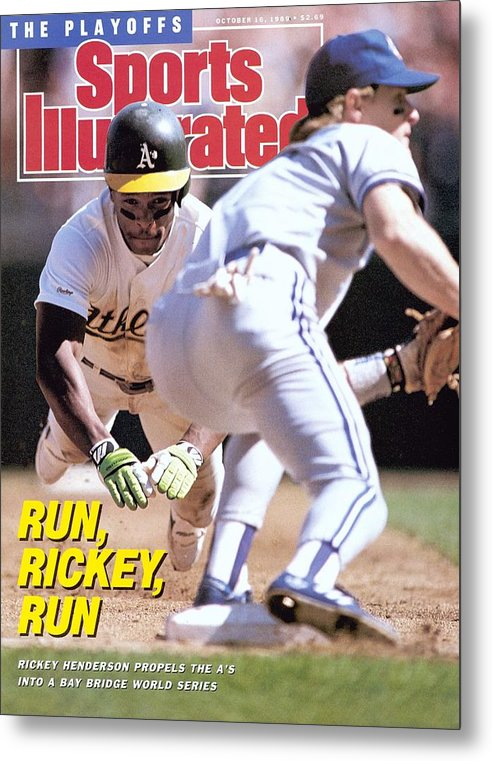 Playoffs Metal Print featuring the photograph Oakland Athletics Rickey Henderson, 1989 Al Championship Sports Illustrated Cover by Sports Illustrated