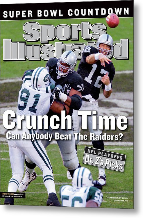Magazine Cover Metal Print featuring the photograph Oakland Raiders Qb Rich Gannon, 2003 Afc Divisional Playoffs Sports Illustrated Cover by Sports Illustrated