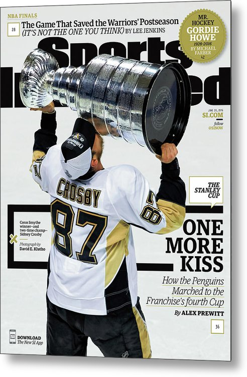 Magazine Cover Metal Print featuring the photograph One More Kiss How The Penguins Marched To The Franchises Sports Illustrated Cover by Sports Illustrated