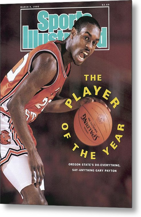Magazine Cover Metal Print featuring the photograph Oregon State Gary Payton Sports Illustrated Cover by Sports Illustrated
