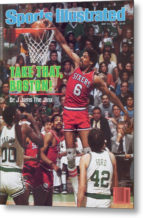 Magazine Cover Metal Print featuring the photograph Philadelphia 76ers Julius Erving, 1982 Nba Eastern Sports Illustrated Cover by Sports Illustrated
