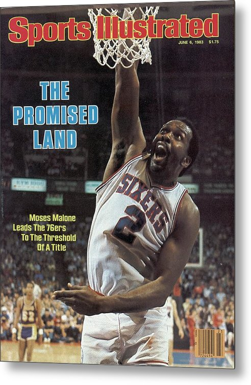 Magazine Cover Metal Print featuring the photograph Philadelphia 76ers Moses Malone, 1983 Nba Finals Sports Illustrated Cover by Sports Illustrated