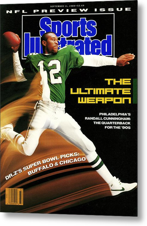 Magazine Cover Metal Print featuring the photograph Philadelphia Eagles Qb Randall Cunningham, 1989 Nfl Sports Illustrated Cover by Sports Illustrated