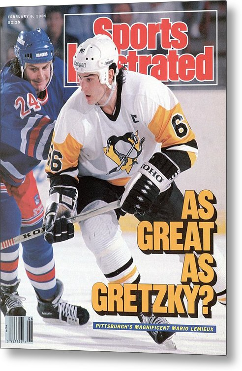 1980-1989 Metal Print featuring the photograph Pittsburgh Penguins Mario Lemeiux... Sports Illustrated Cover by Sports Illustrated