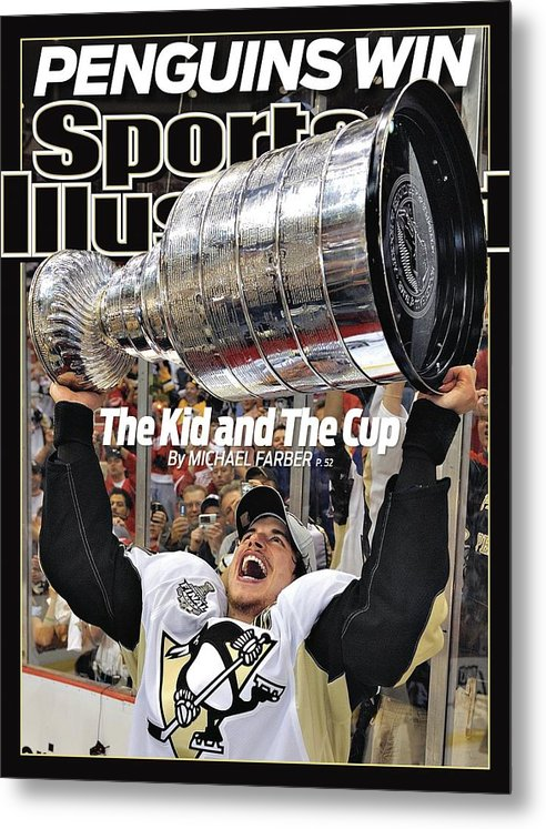 Magazine Cover Metal Print featuring the photograph Pittsburgh Penguins Sidney Crosby, 2009 Nhl Stanley Cup Sports Illustrated Cover by Sports Illustrated