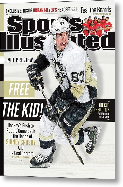 Magazine Cover Metal Print featuring the photograph Pittsburgh Penguins Sidney Crosby, 2013-14 Nhl Hockey Sports Illustrated Cover by Sports Illustrated