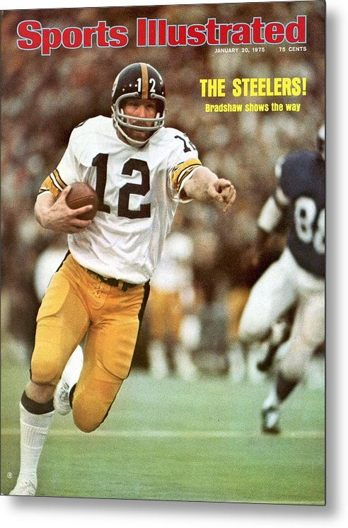 Sports Illustrated Metal Print featuring the photograph Pittsburgh Steelers Qb Terry Bradshaw, Super Bowl Ix Sports Illustrated Cover by Sports Illustrated