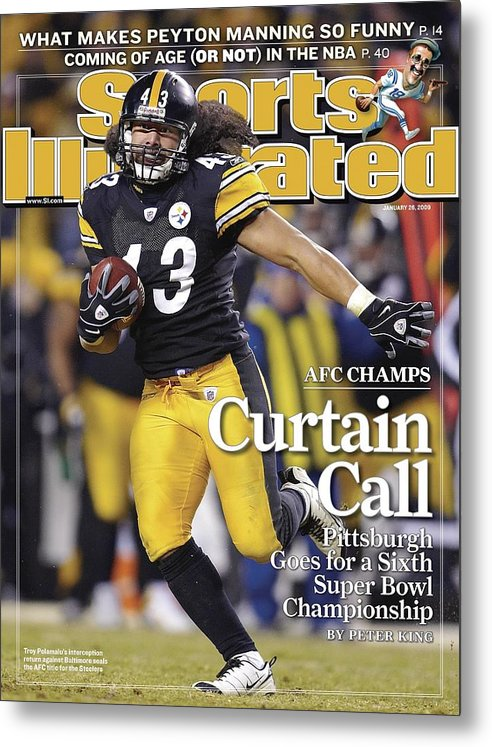 Magazine Cover Metal Print featuring the photograph Pittsburgh Steelers Troy Polamalu, 2009 Afc Championship Sports Illustrated Cover by Sports Illustrated