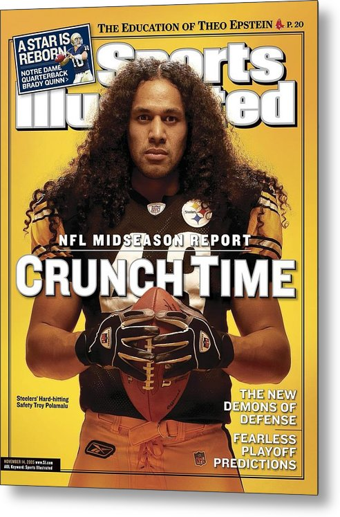 Sports Illustrated Metal Print featuring the photograph Pittsburgh Steelers Troy Polamalu Sports Illustrated Cover by Sports Illustrated