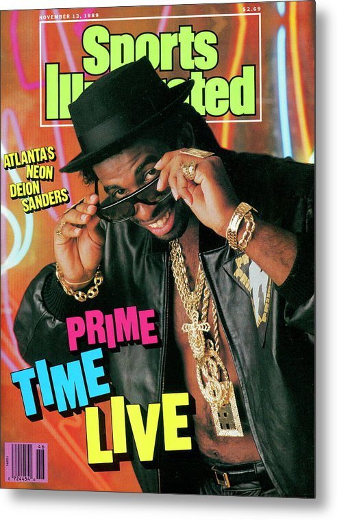 Atlanta Metal Print featuring the photograph Prime Time Live Atlantas Neon Deion Sanders Sports Illustrated Cover by Sports Illustrated
