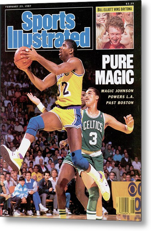 Magazine Cover Metal Print featuring the photograph Pure Magic Magic Johnson Powers L.a. Past Boston Sports Illustrated Cover by Sports Illustrated