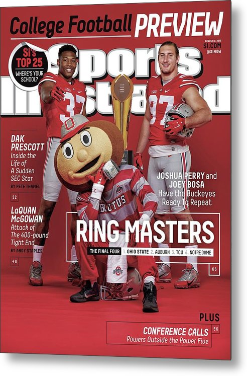 Magazine Cover Metal Print featuring the photograph Ring Masters 2015 College Football Preview Issue Sports Illustrated Cover by Sports Illustrated