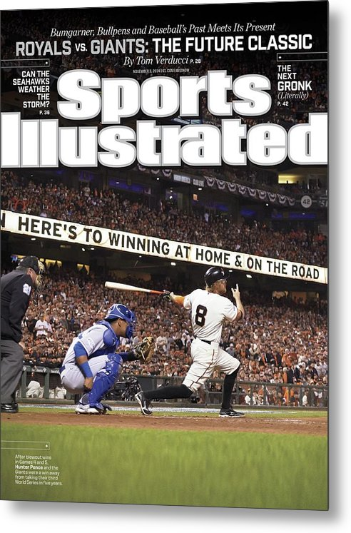 Magazine Cover Metal Print featuring the photograph Royals Vs. Giants The Future Classic Sports Illustrated Cover by Sports Illustrated