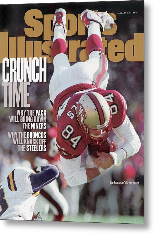 Candlestick Park Metal Print featuring the photograph San Francisco 49ers Brent Jones, 1998 Nfc Divisional Sports Illustrated Cover by Sports Illustrated
