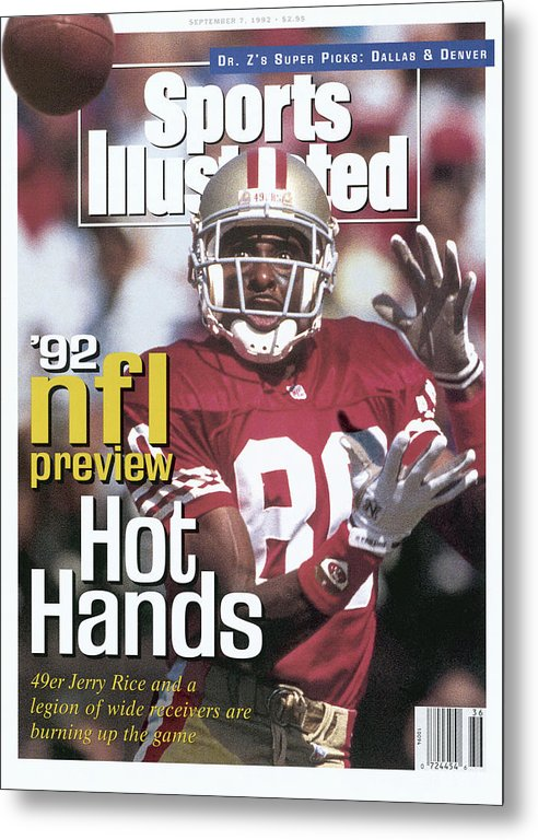 Candlestick Park Metal Print featuring the photograph San Francisco 49ers Jerry Rice, 1992 Nfl Football Preview Sports Illustrated Cover by Sports Illustrated