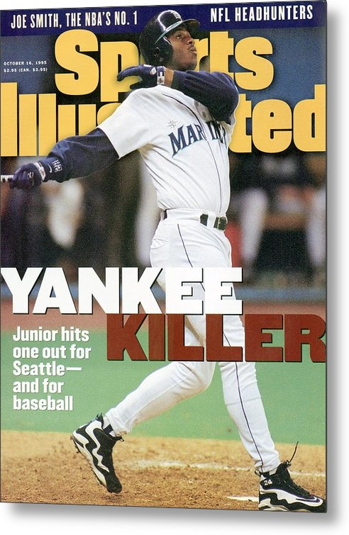 Magazine Cover Metal Print featuring the photograph Seattle Mariners Ken Griffey Jr, 1995 Al Division Series Sports Illustrated Cover by Sports Illustrated